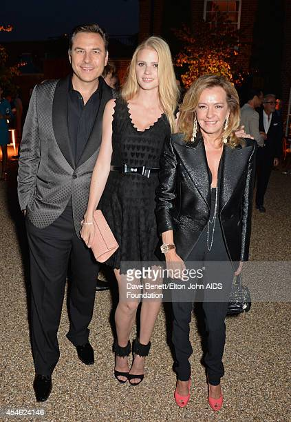 APPLIES David Walliams Lara Stone and Caroline Scheufele attend the Woodside End of Summer party to benefit the Elton John AIDS Foundation sponsored...