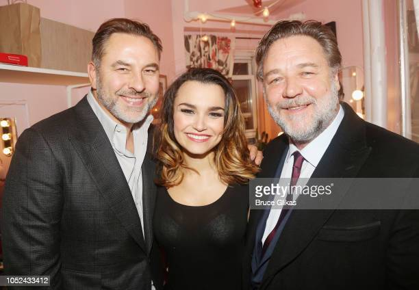 David Walliams Samantha Barks and Russell Crowe pose backstage at the hit musical based on the film 'Pretty Woman' on Broadway at The Nederlander...