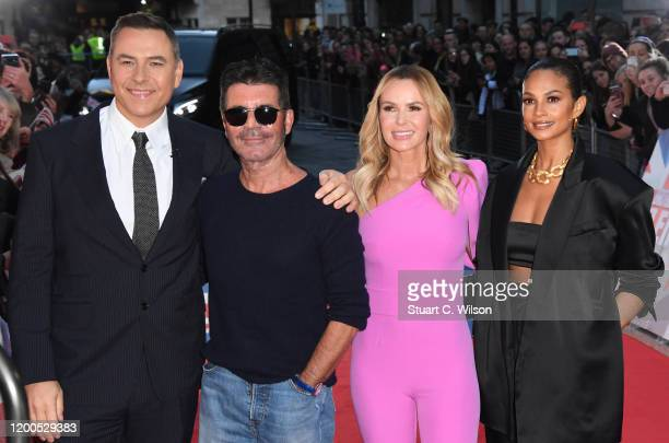 David Walliams Simon Cowell Amanda Holden and Alesha Dixon attend the Britain's Got Talent 2020 photocall at the London Palladium on January 19 2020...