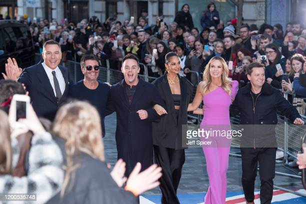 David Walliams Simon Cowell Anthony McPartlin Alesha Dixon Amanda Holden and Declan Donnelly attend the Britain's Got Talent 2020 photocall at London...