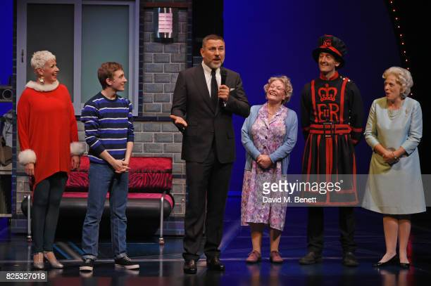 David Walliams speaks as cast members Rachel Stanley Ashley Cousins Gilly Tompkins Richard James and Louise Bailey look on at the curtain call during...