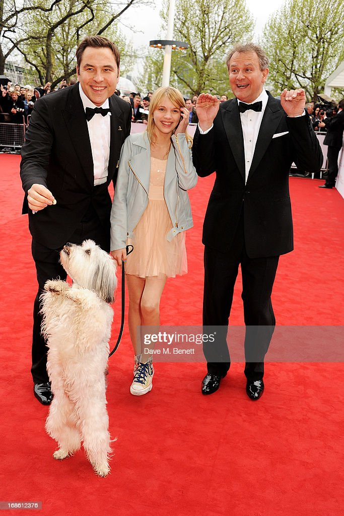 David Walliams, Tayla Butler and Hugh Bonneville with dog Pudsey attend the Arqiva British Academy Television Awards 2013 at the Royal Festival Hall on May 12, 2013 in London, England.
