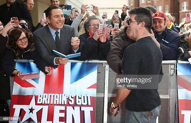 David Walliams waits for an autograph along with other fans as Simon Cowell attends the London Auditions of Britain's Got Talent at Hammersmith...