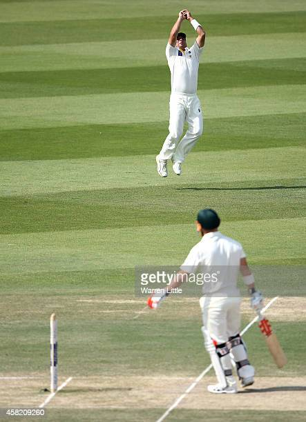 David Waner of Australia looks on as he caught by Yasir Shah of Pakidstan off the bowling of Rahat Ali during Day Three of the Second Test between...