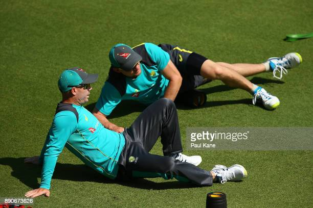 David Warner and Cameron Bancroft of Australia stretch during an Australian Nets Session ahead of the Third Test in the 2017/18 Ashes Series at on...