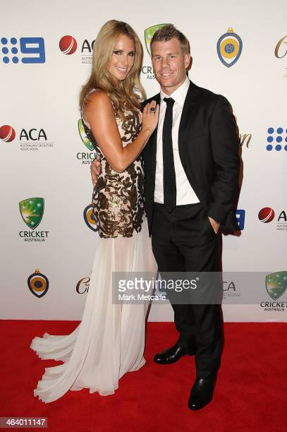 David Warner and Candice Falzon arrive at the 2014 Allan Border Medal at Doltone House on January 20 2014 in Sydney Australia
