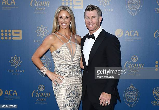 David Warner and Candice Warner arrive ahead of the 2017 Allan Border Medal at The Star on January 23 2017 in Sydney Australia