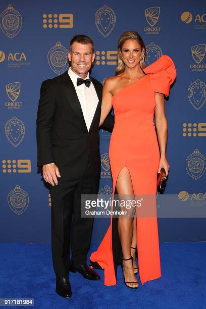David Warner and Candice Warner arrive at the 2018 Allan Border Medal at Crown Palladium on February 12 2018 in Melbourne Australia