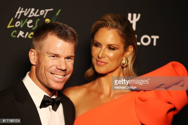 David Warner and Candice Warner pose at the 2018 Allan Border Medal at Crown Palladium on February 12 2018 in Melbourne Australia