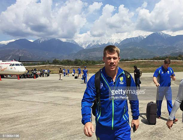 David Warner and Steve Smith of Australia arrive at Dharamsala Airport ahead of the ICC 2016 Twenty20 World Cup on March 15 2016 in Dharamsala India