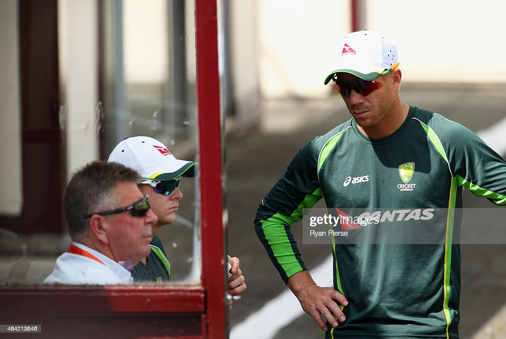 David Warner and Steve Smith of Australia speak to Australian Chairman of Selectors Rod Marsh during day three of the tour match between Northamptonshire and Australia at The County Ground on August 16, 2015 in Northampton, England.