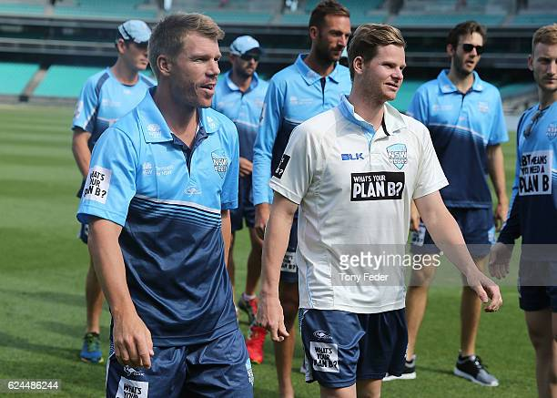 David Warner and Steve Smith of NSW during day four of the Sheffield Shield match between New South Wales and Victoria at Sydney Cricket Ground on...