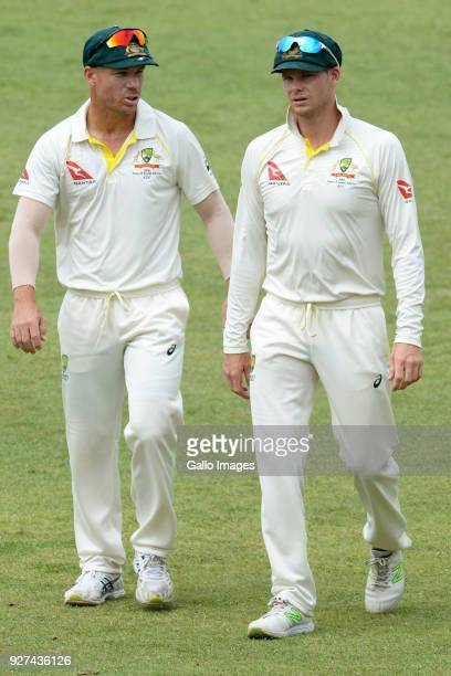 David Warner and Steven Smith of Australia during day 5 of the 1st Sunfoil Test match between South Africa and Australia at Sahara Stadium Kingsmead...