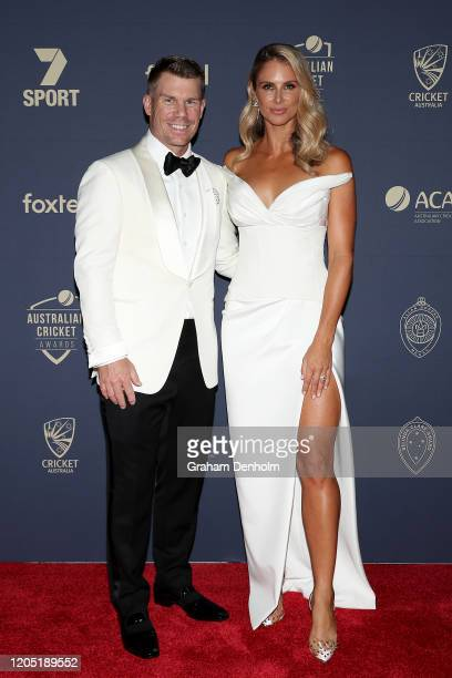 David Warner and wife Candice Warner arrive ahead of the 2020 Cricket Australia Awards at Crown Palladium on February 10 2020 in Melbourne Australia