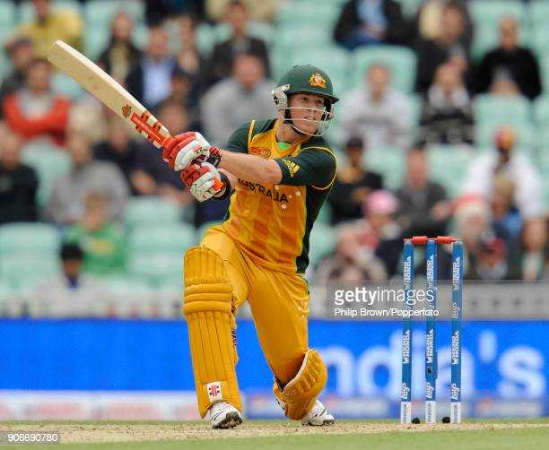 David Warner batting for Australia during his innings of 63 runs in the ICC World Twenty20 group match between Australia and West Indies at The Oval...