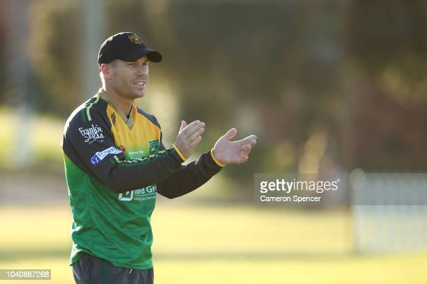 David Warner competes in training drills with RandwickPetersham team mates ahead of Saturday's opening Sydney Club Cricket round at Snape Park on...