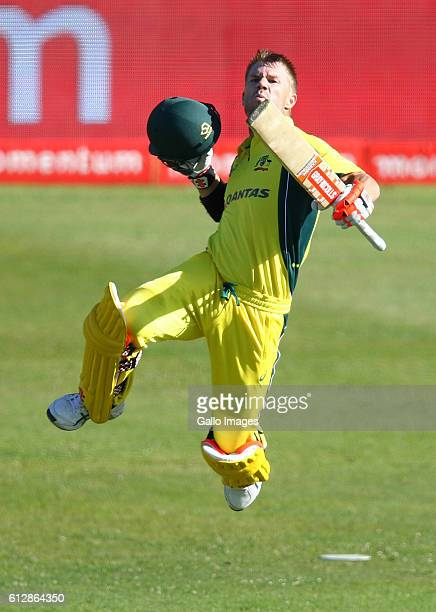 David Warner gets his 100 during the 3rd Momentum ODI Series match between South Africa and Australia at Sahara Stadium Kingsmead on October 05 2016...