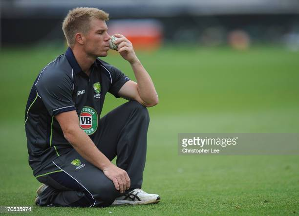 David Warner has some time to think as he takes a drinks break during the Australia Nets Session at The Oval on June 14 2013 in London England