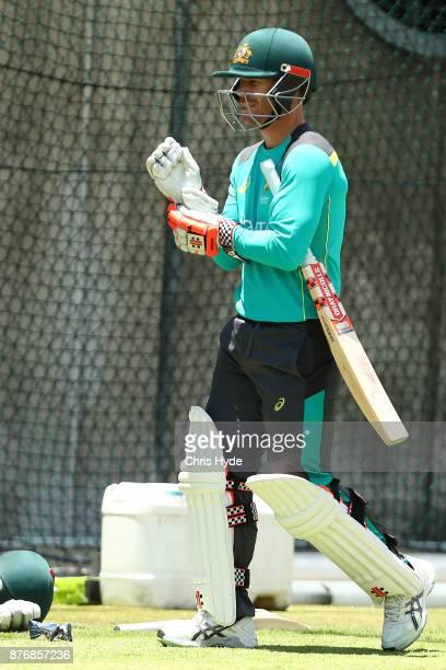 David Warner leaves the nets during the Australian nets session at The Gabba on November 21 2017 in Brisbane Australia