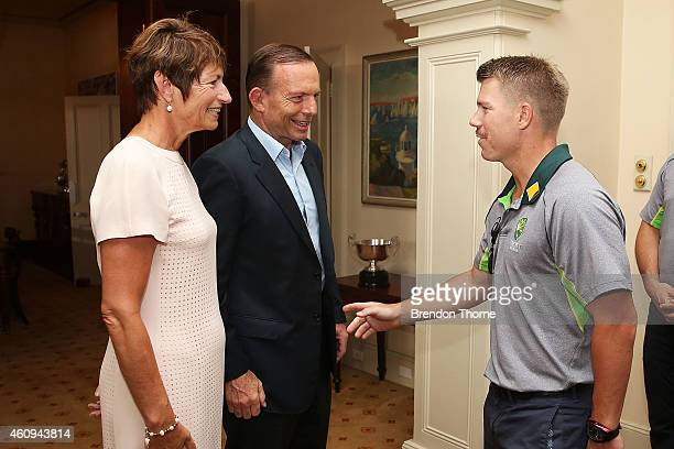 David Warner meets with Australian Prime Minister Tony Abbott and his wife Margaret Abbott during the Australian and Indian cricket team visit at...
