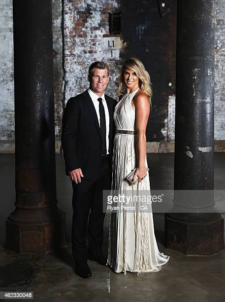 David Warner of Australia and his fiance Candice Falzon pose ahead of the 2015 Allan Border Medal at Carriageworks on January 27 2015 in Sydney...