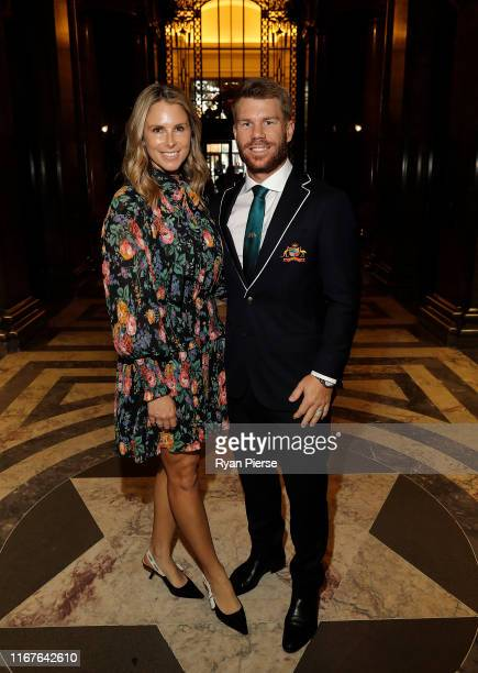 David Warner of Australia and wife Candice Warner pose during a visit to the Australian High Commission at Australia House on August 12 2019 in...
