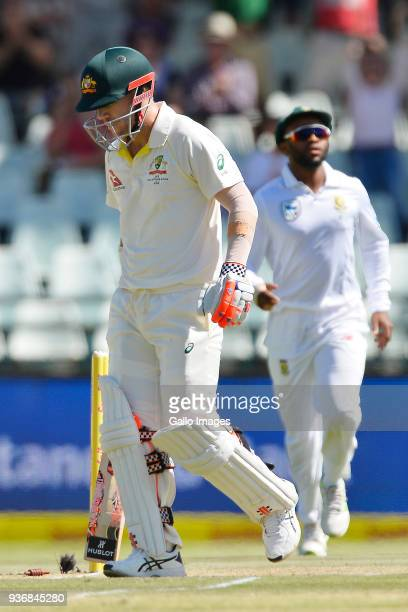 David Warner of Australia b Kagiso Rabada of South Africa during day 2 of the 3rd Sunfoil Test match between South Africa and Australia at PPC...