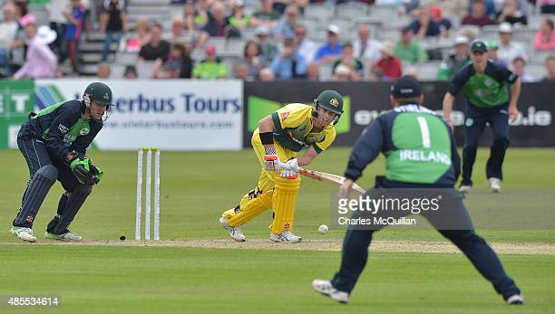 David Warner of Australia bats at the city end during the ODI cricket game between Ireland and Australia at Stormont cricket ground on August 27 2015...