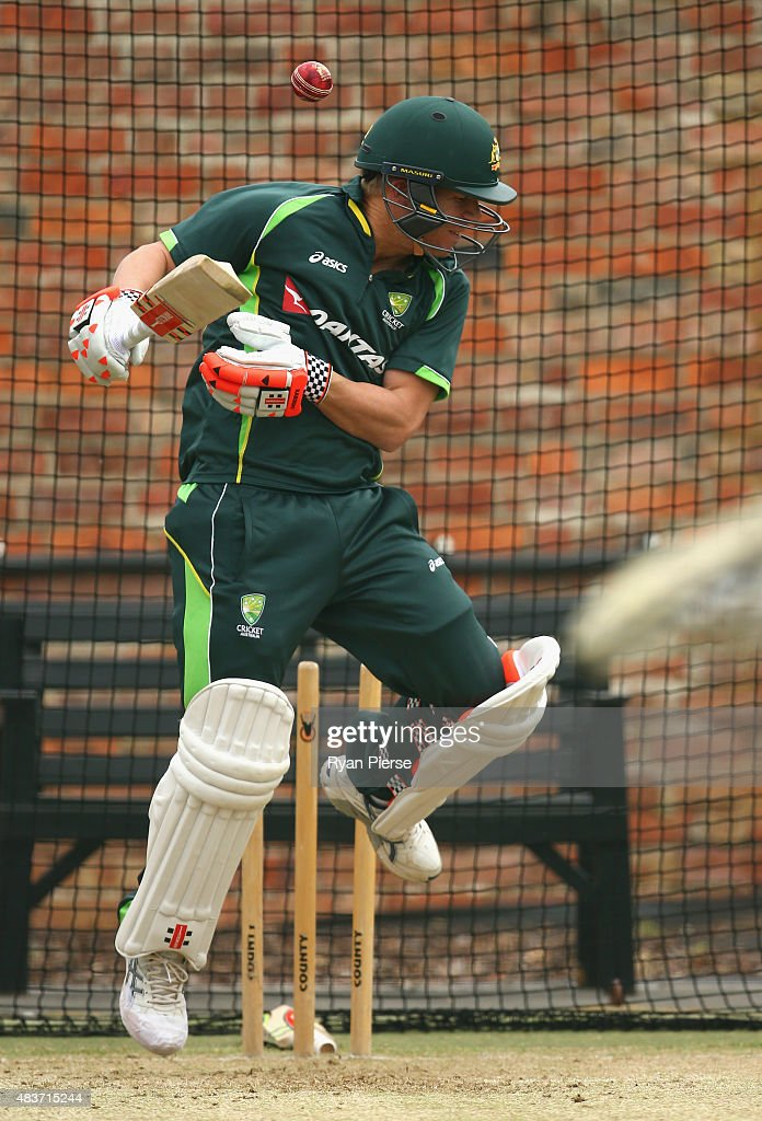 David Warner of Australia bats during an Australian Nets Session at The County Ground on August 12, 2015 in Northampton, England.