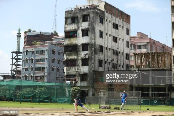 David Warner of Australia bats during an Australian Test team nets session at SherE Bangla National Cricket Stadium on August 22 2017 in Dhaka...