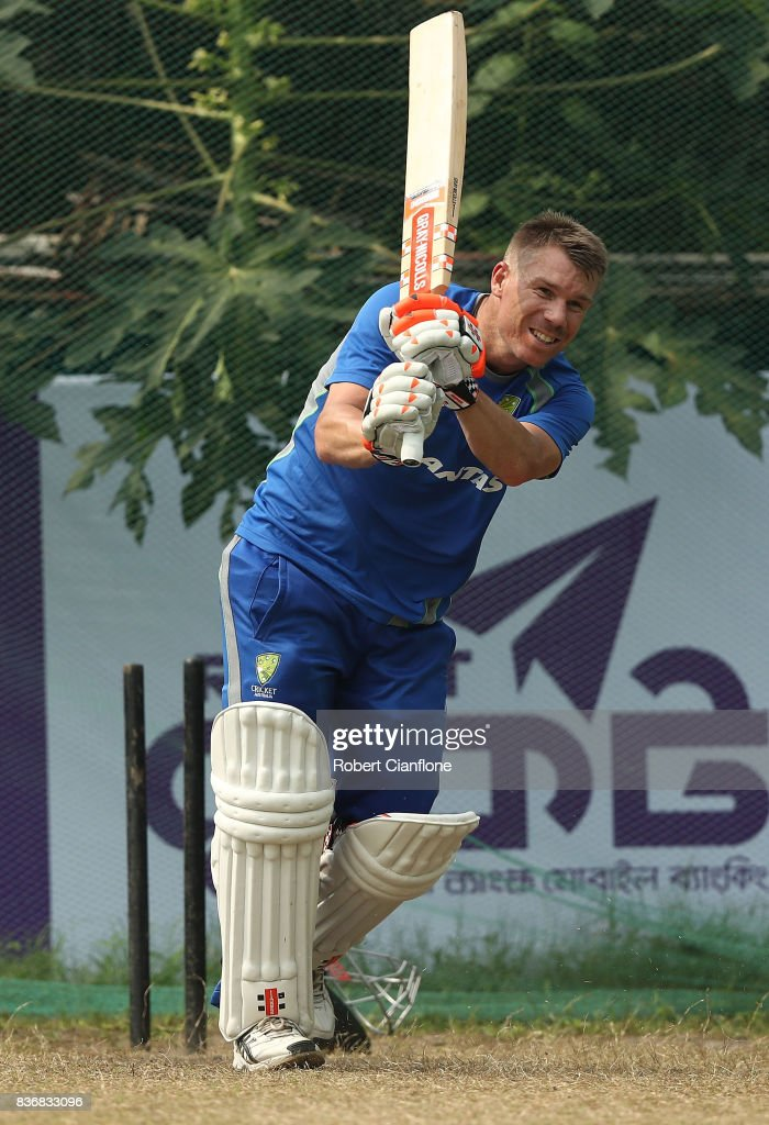 David Warner of Australia bats during an Australian Test team nets session at Sher-E Bangla National Cricket Stadium on August 22, 2017 in Dhaka, Bangladesh.