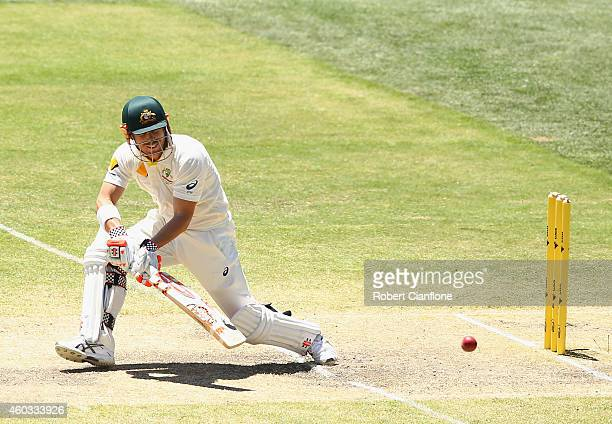 David Warner of Australia bats during day four of the First Test match between Australia and India at Adelaide Oval on December 12 2014 in Adelaide...