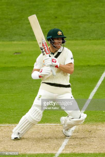 David Warner of Australia bats during day one of the 2nd Domain Test between Australia and Pakistan at Adelaide Oval on November 29, 2019 in...
