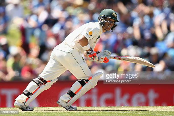David Warner of Australia bats during day one of the First Test match between Australia and the West Indies at Blundstone Arena on December 10 2015...
