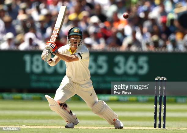 David Warner of Australia bats during day one of the Fourth Test Match in the 2017/18 Ashes series between Australia and England at Melbourne Cricket...