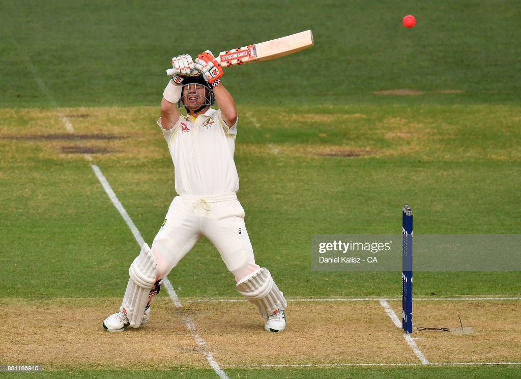 David Warner of Australia bats during day one of the Second Test match during the 2017/18 Ashes Series between Australia and England at Adelaide Oval on December 2, 2017 in Adelaide, Australia.