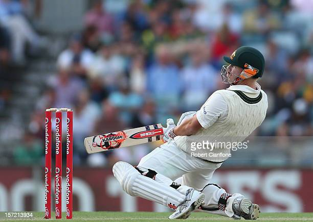 David Warner of Australia bats during day one of the Third Test Match between Australia and South Africa at the WACA on November 30 2012 in Perth...