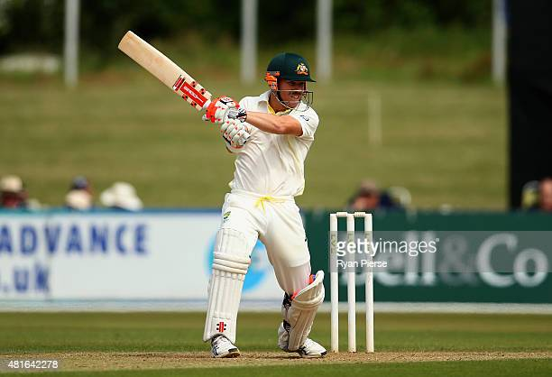 David Warner of Australia bats during Day One of the Tour Match between Derbyshire and Australia at The 3aaa County Ground on July 23 2015 in Derby...