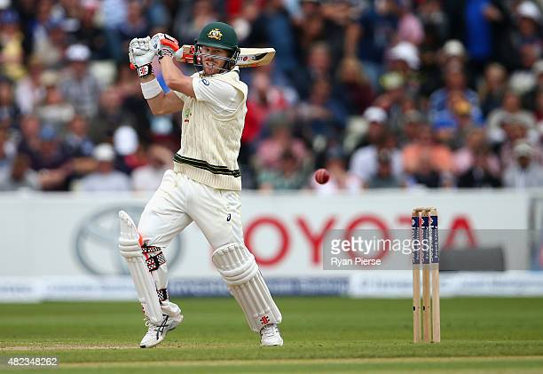 David Warner of Australia bats during day two of the 3rd Investec Ashes Test match between England and Australia at Edgbaston on July 30 2015 in...