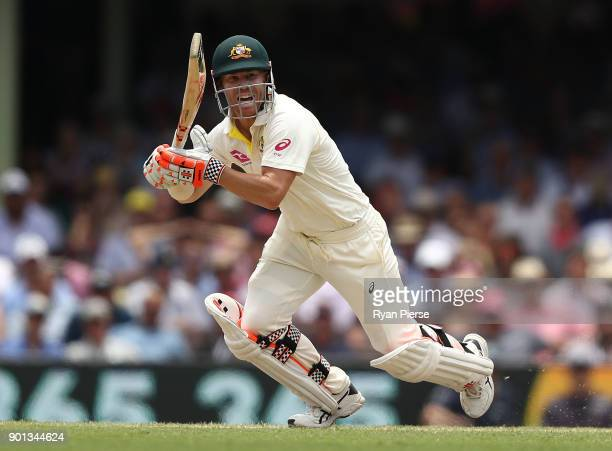 David Warner of Australia bats during day two of the Fifth Test match in the 2017/18 Ashes Series between Australia and England at Sydney Cricket...