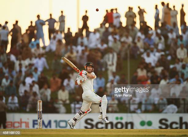 David Warner of Australia bats during Day Two of the Second Test between Pakistan and Australia at Sheikh Zayed Stadium at Sheikh Zayed stadium on...