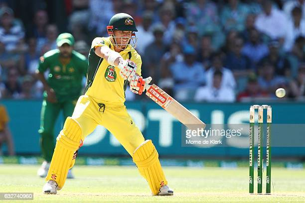 David Warner of Australia bats during game five of the One Day International series between Australia and Pakistan at Adelaide Oval on January 26...