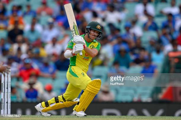 David Warner of Australia bats during game two of the One Day International series between Australia and India at Sydney Cricket Ground on November...