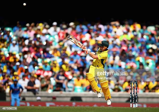 David Warner of Australia bats during the 2015 Cricket World Cup Semi Final match between Australia and India at Sydney Cricket Ground on March 26...