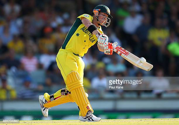 David Warner of Australia bats during the 2015 ICC Cricket World Cup match between Australia and Afghanistan at WACA on March 4 2015 in Perth...
