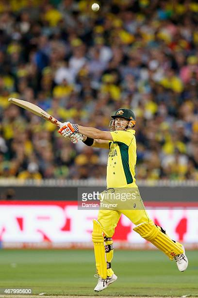 David Warner of Australia bats during the 2015 ICC Cricket World Cup final match between Australia and New Zealand at Melbourne Cricket Ground on...