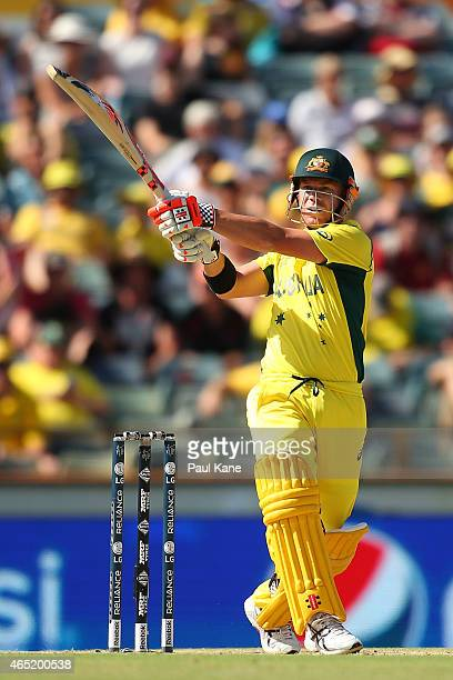 David Warner of Australia bats during the 2015 ICC Cricket World match between Australia and Afghanistan at WACA on March 4 2015 in Perth Australia