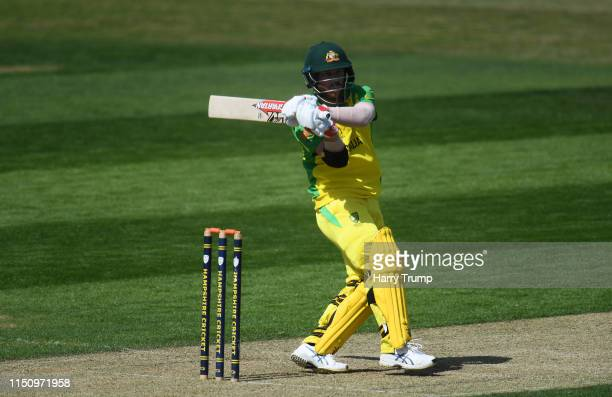 David Warner of Australia bats during the One Day International match between Australia and West Indies at the Ageas Bowl on May 22, 2019 in...