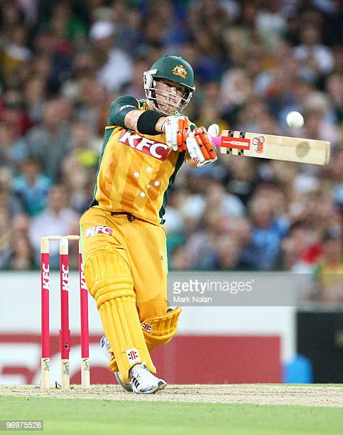 David Warner of Australia bats during the Twenty20 International match between Australia and the West Indies at Sydney Cricket Ground on February 23...