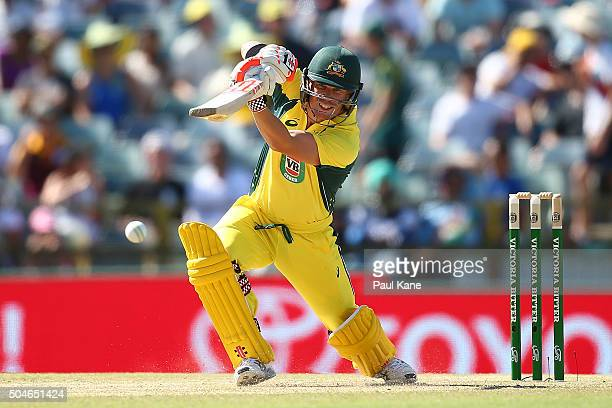 David Warner of Australia bats during the Victoria Bitter One Day International Series match between Australia and India at WACA on January 12 2016...